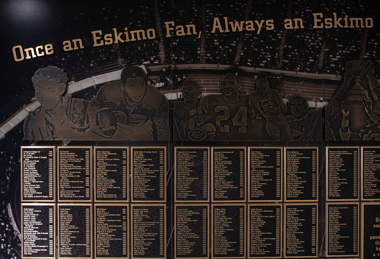 An old plaque about Edmonton Elks players at Commonwealth Stadium.