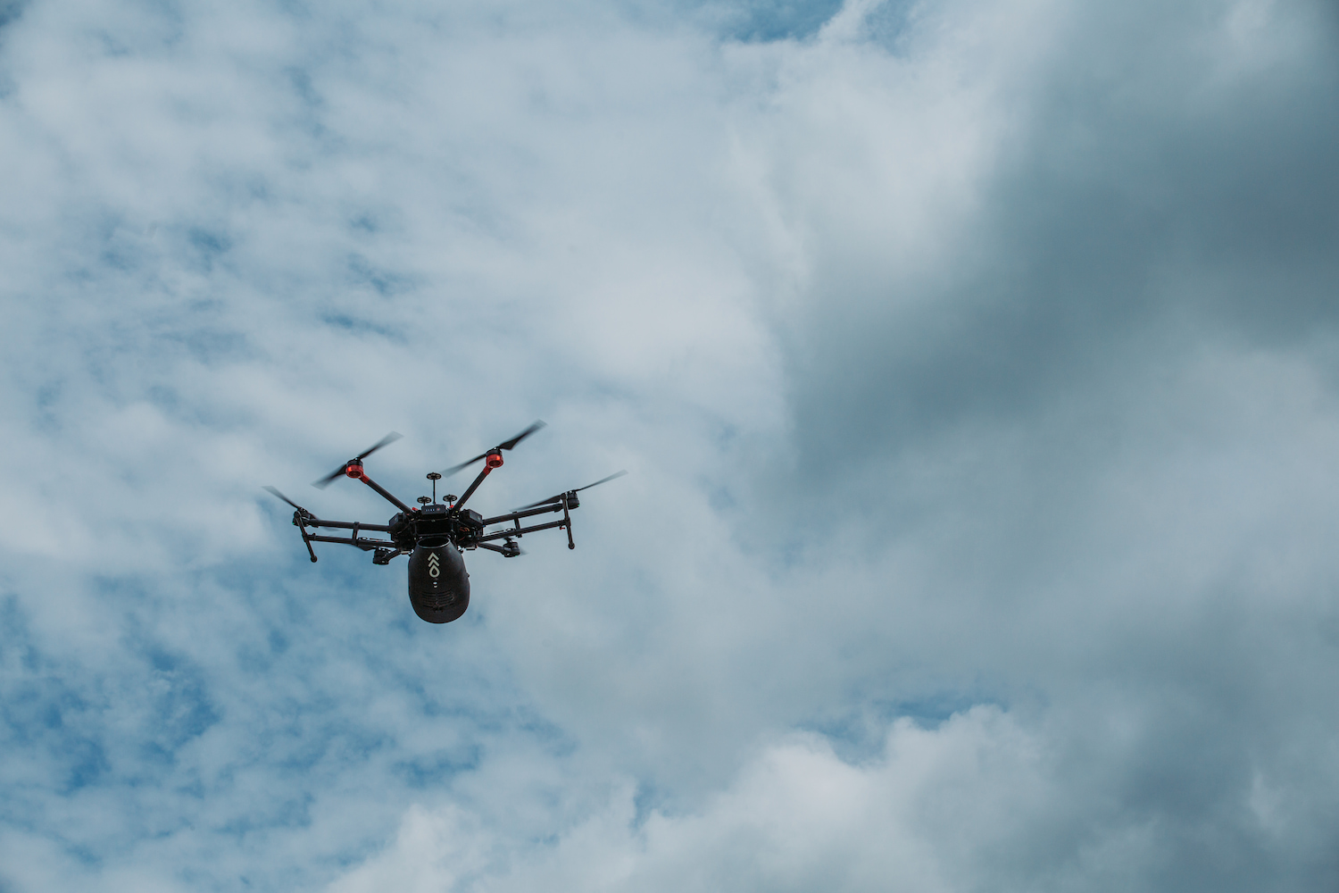 A Flash Forest drone in the air.