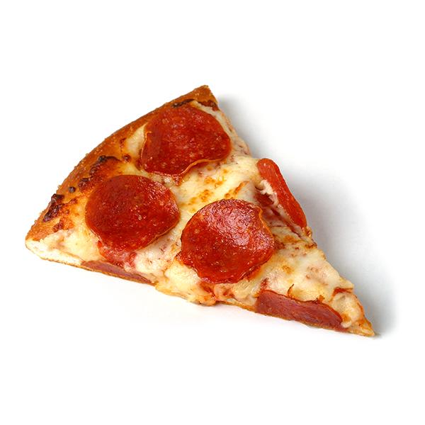 A pepperoni pizza slice
