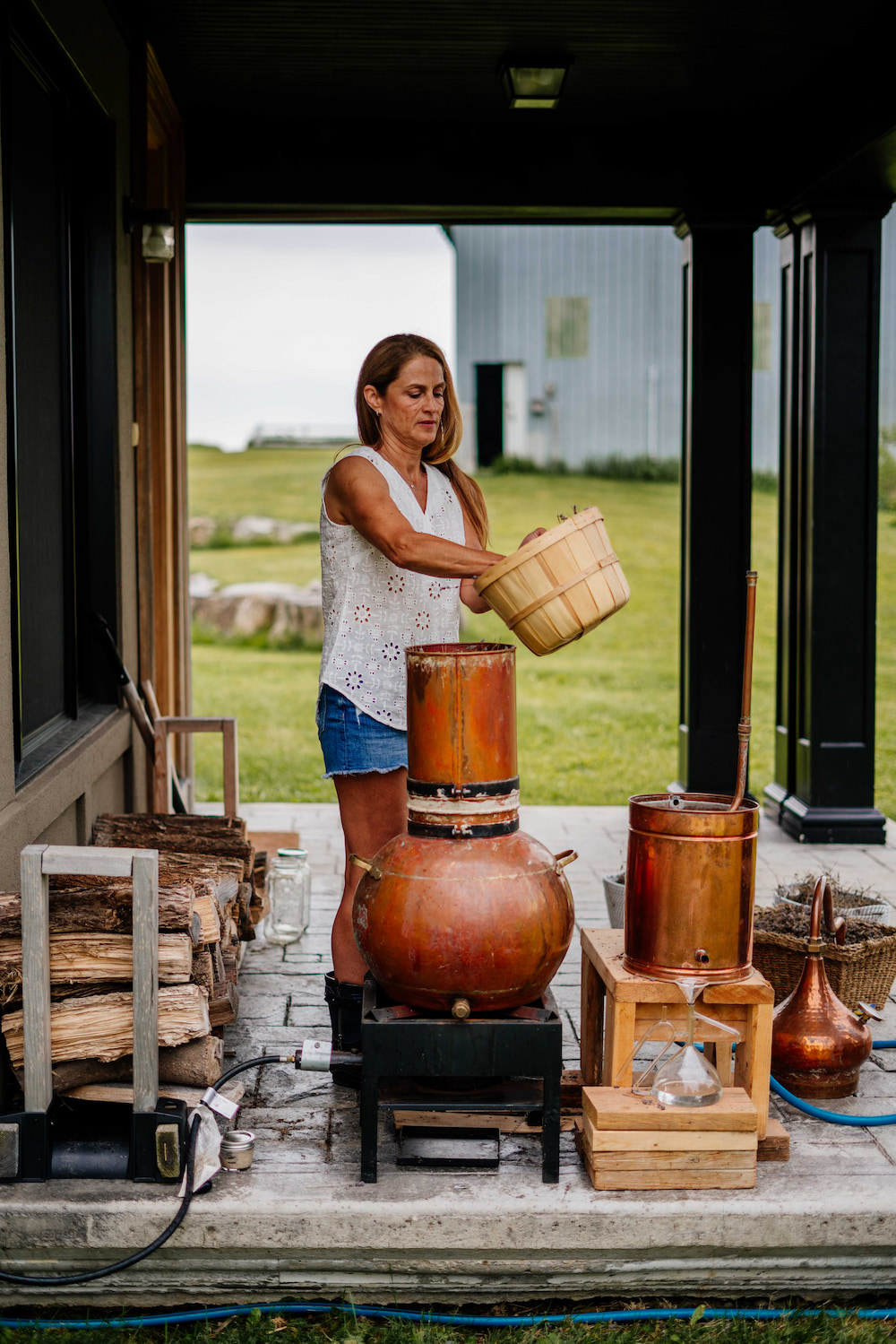 Susanne Langmuir in the drive shed at her farm